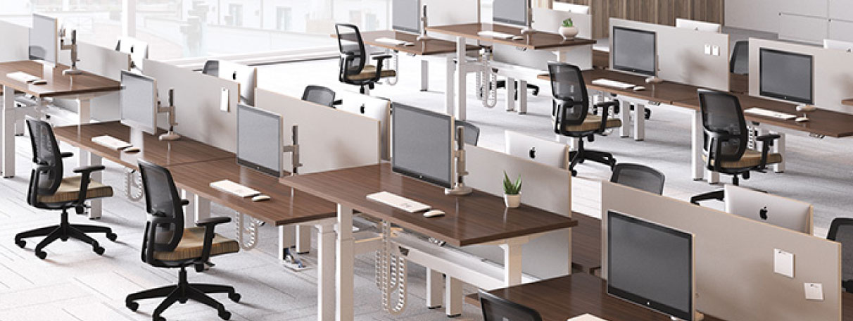 Sit-Stand-Desk-Design-Tribe-and-Keller-Williams-Approved-Vendor-Workspace-Interiors-by-Office-Depot-at-Mega-Camp